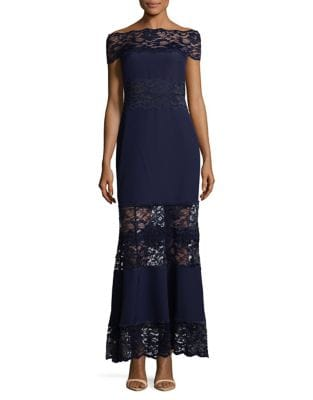 Off-the-Shoulder Lace Gown by Belle Badgley Mischka