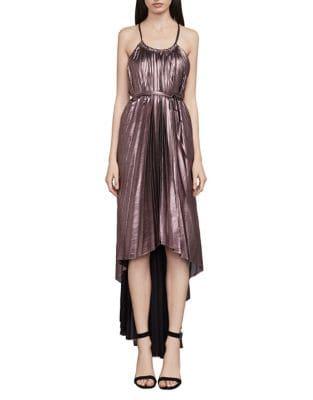 Valerie Metallic Pleated Halter Dress by BCBGMAXAZRIA