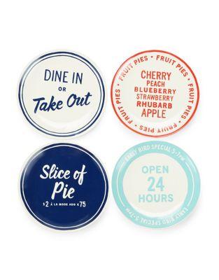 Set of Four Orders Up Tidbit Plates