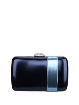Manzie Metallic Faux Leather Box Clutch 500087687614