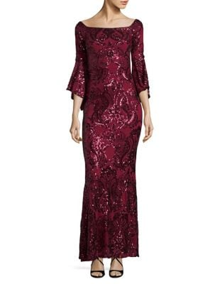 Sequined Column Gown by Betsy & Adam
