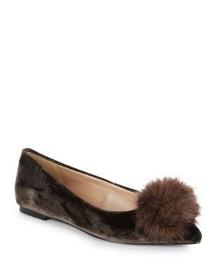 Raddie Velvet Faux Fur Pom Pom Flats by Sam Edelman