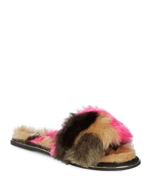 Rose Faux Fur Slides by Yosi Samra