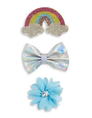 Girl's Three-Pack Rainbow, Floral and Bow Clip 500087699018