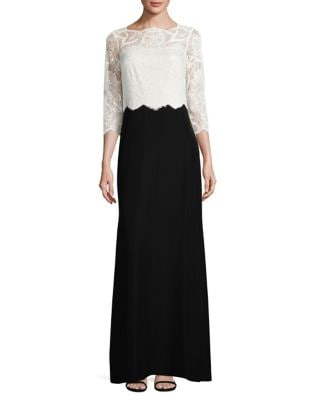 Laced Colorblock Floor-Length Gown by Tadashi Shoji