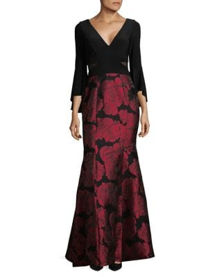 Bell Sleeve Floral Brocade Gown by Xscape