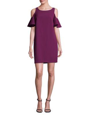 Cold Shoulder Crepe Shift Dress by Chetta B