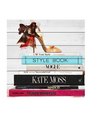 Style Book Painting Print on White Wood