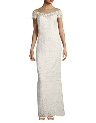 Laced Off-The-Shoulder Column Gown by Tadashi Shoji
