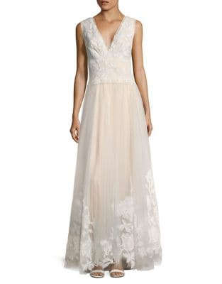 Laced V-Neck Floor-Length Gown by Tadashi Shoji