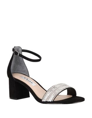 Elenora Crystal and Suede Ankle-Strap Sandals by Nina
