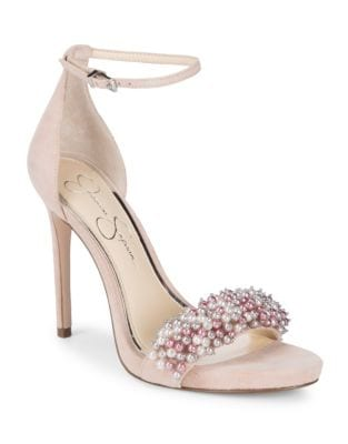 Rusley Embellished Suede Stiletto Sandals by Jessica Simpson