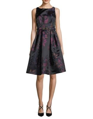 Floral Jacquard Fit-&-Flare Dress by Eliza J