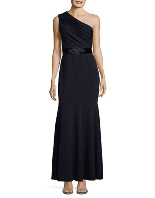 One-Shoulder Embellished Fit-&-Flare Gown by Eliza J