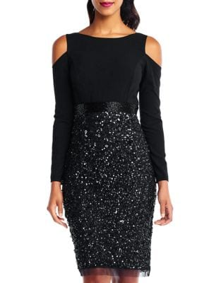 Sequin Cold-Shoulder Dress by Adrianna Papell