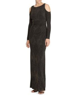 Metallic Jacquard Cold-Shoulder Gown by Lauren Ralph Lauren