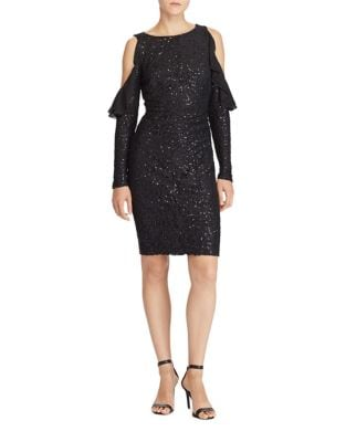 Sequined Cold-Shoulder Dress by Lauren Ralph Lauren