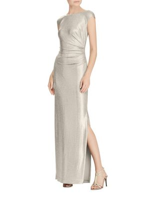 Metallic Cutout-Back Gown by Lauren Ralph Lauren