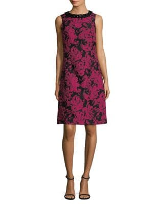 Sleeveless Brocade Sheath Dress by Teri Jon
