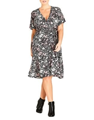 Plus Etched Floral Wrap Dress by City Chic