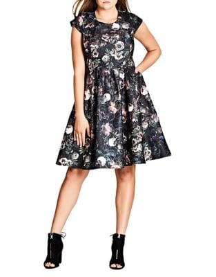 Plus Vintage Peony A-Line Dress by City Chic