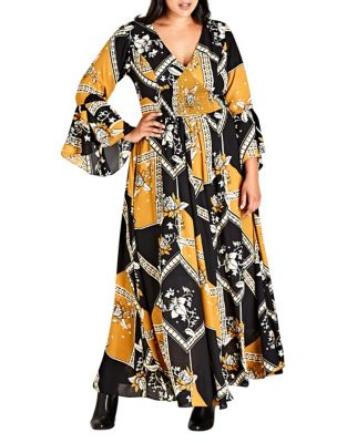 Plus Oriental Scarf Maxi Dress by City Chic