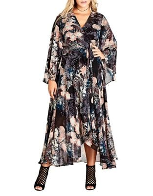 Plus Floral Wrap Maxi Dress by City Chic