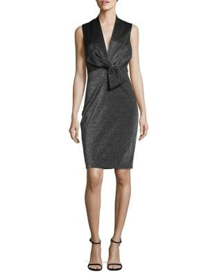 Sleeveless Metallic Bow Dress by Badgley Mischka Platinum