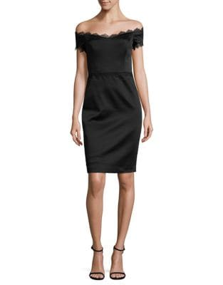 Lace Trimmed Sheath Dress by Badgley Mischka Platinum