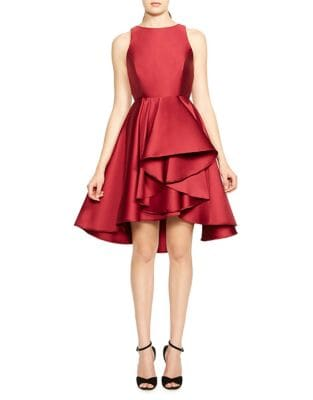 Colorblock Ruffle Hi-Lo Dress by Halston Heritage