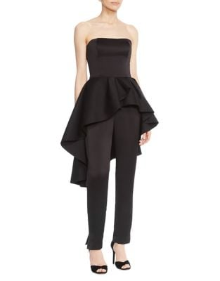 Ruffled Strapless Satin Jumpsuit by Halston Heritage
