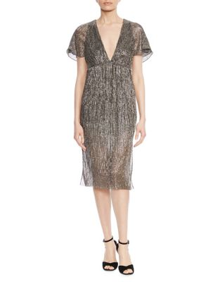 Flounce Sleeve Metallic Dress by Halston Heritage