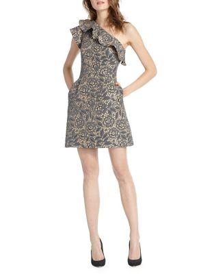 Floral Ruffled Shift Dress by ML Monique Lhuillier