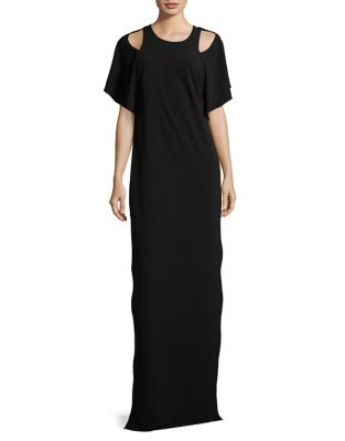 Flowy-Sleeve Floor-Length Gown by Halston Heritage