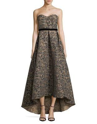 Floral Jacquard Ball Gown by ML Monique Lhuillier