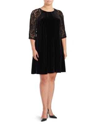 Plus Raglan Velvet and Lace A-Line Dress by Gabby Skye