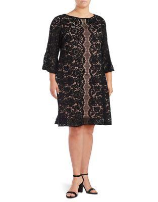 Plus Lace Three-Quarter Sleeve Dress by Gabby Skye