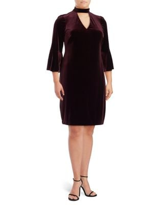 Plus Mockneck Choker Bell Sleeve Dress by Eliza J