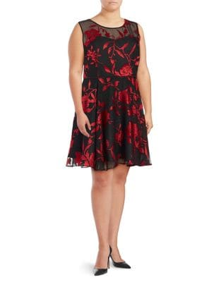 Plus Floral Pleated Fit-&-Flare Dress by Tahari Arthur S. Levine