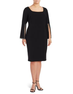 Plus Split-Sleeve Sheath Dress by Calvin Klein