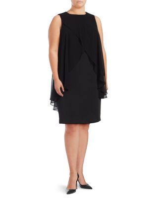 Plus Ruffle Crossover Dress by Calvin Klein