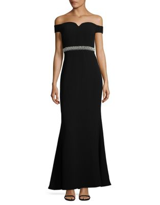 Faux Pearl Off-The-Shoulder Gown by Karl Lagerfeld Paris