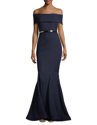 Belted Off-The-Shoulder Mermaid Gown by Nicole Bakti