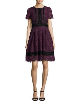 Embroidered Lace Fit-&-Flare Dress by Eliza J