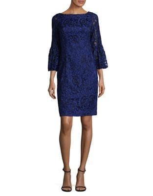 Lace Bell-Sleeve Sheath Dress by Eliza J