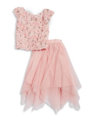 Girl's Two-Piece 3D Floral...