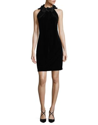 Petite Embellished Halter Velvet Sheath Dress by Tahari Arthur S. Levine