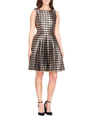 Petite Checkered Fit-&-Flare Dress by Tahari Arthur S. Levine