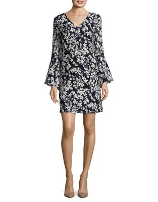 V-Neck Bell Sleeve Dress by Karl Lagerfeld Paris