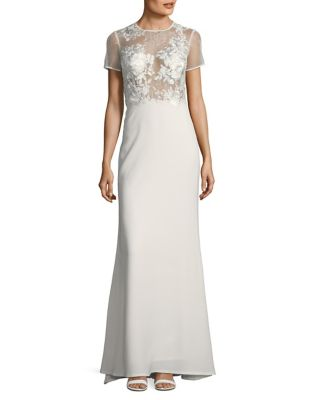 Laced See-Through Column Gown by Tadashi Shoji